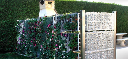 Garden fence decorated with plants